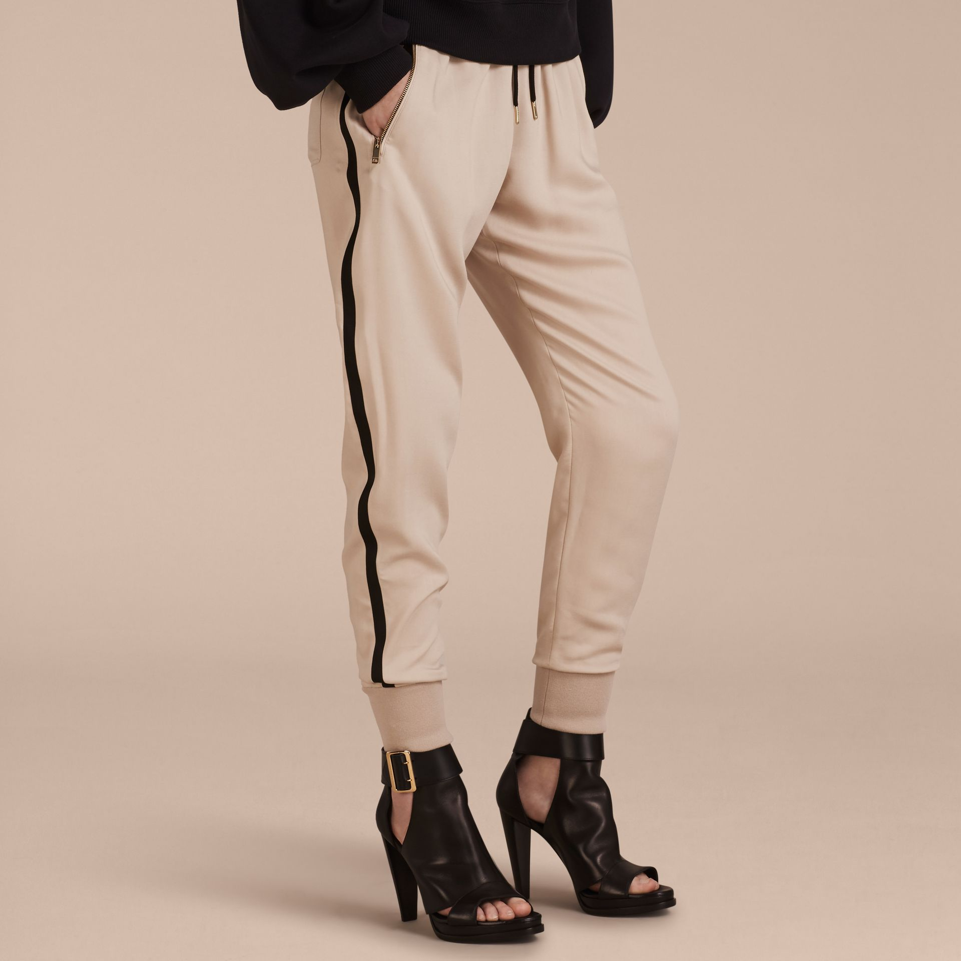 Stone Zip Detail Jersey Sweat Pants Stone - gallery image 6