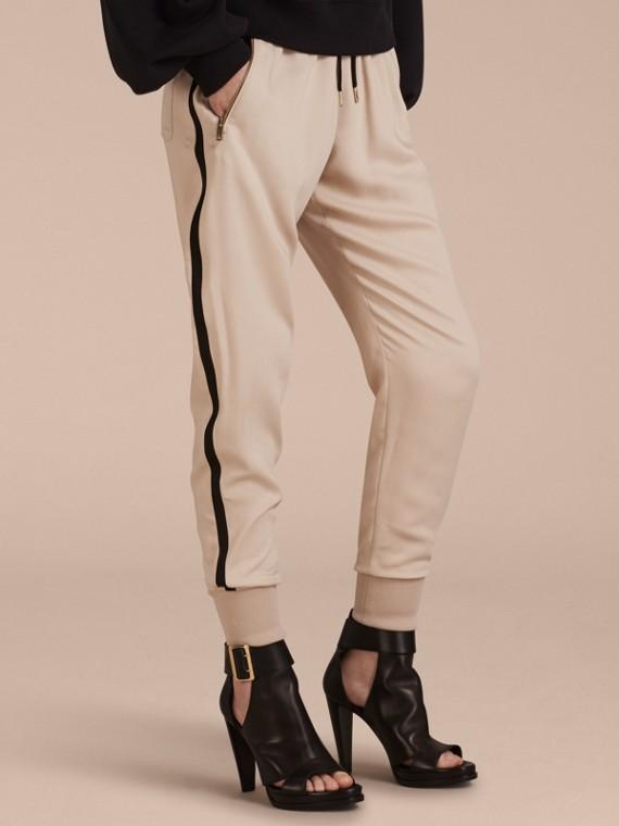 Zip Detail Jersey Sweat Pants in Stone
