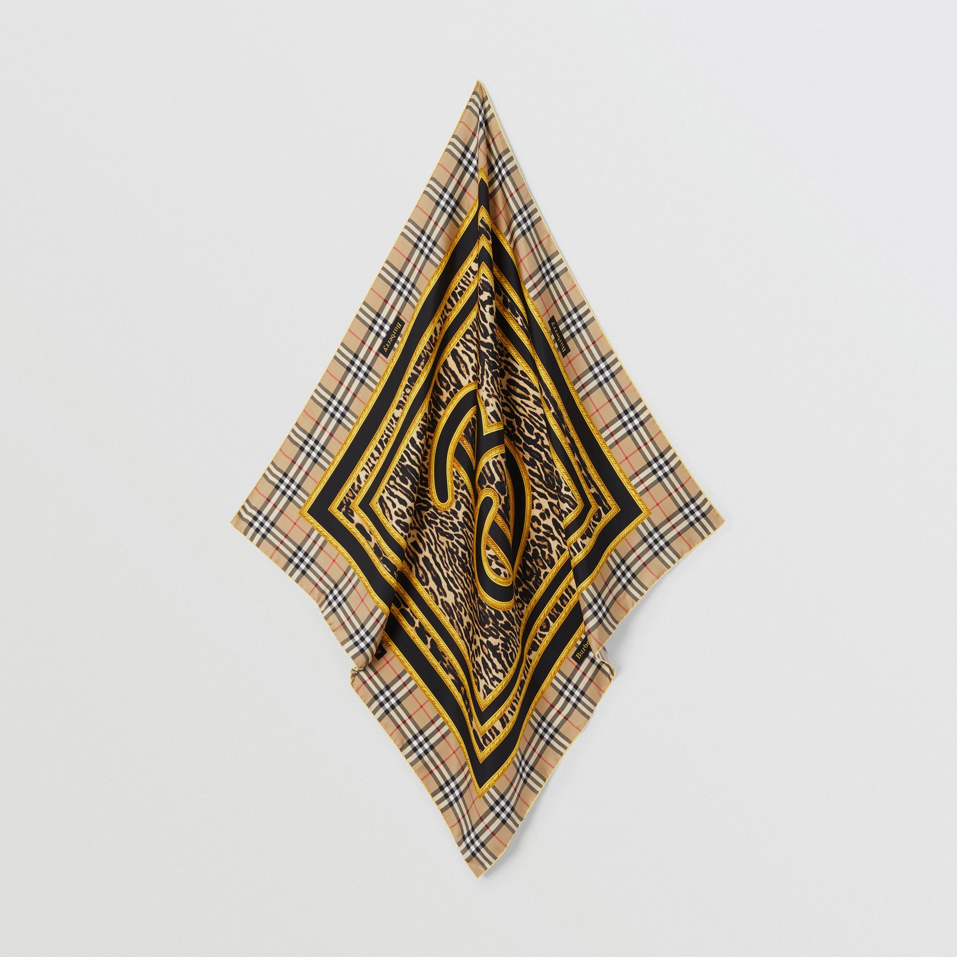 Archive Scarf Print Silk Square Scarf in Dark Mustard | Burberry United Kingdom - gallery image 3