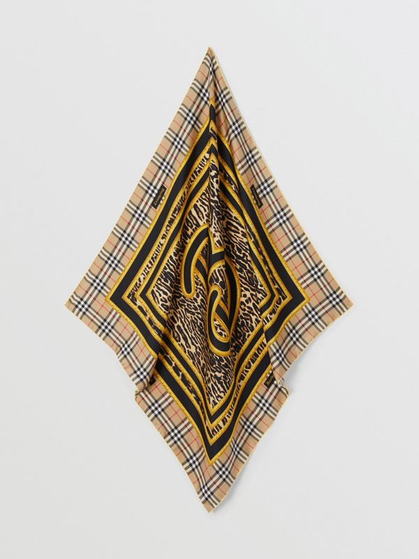 Archive Scarf Print Silk Square Scarf in Dark Mustard | Burberry United Kingdom - cell image 3
