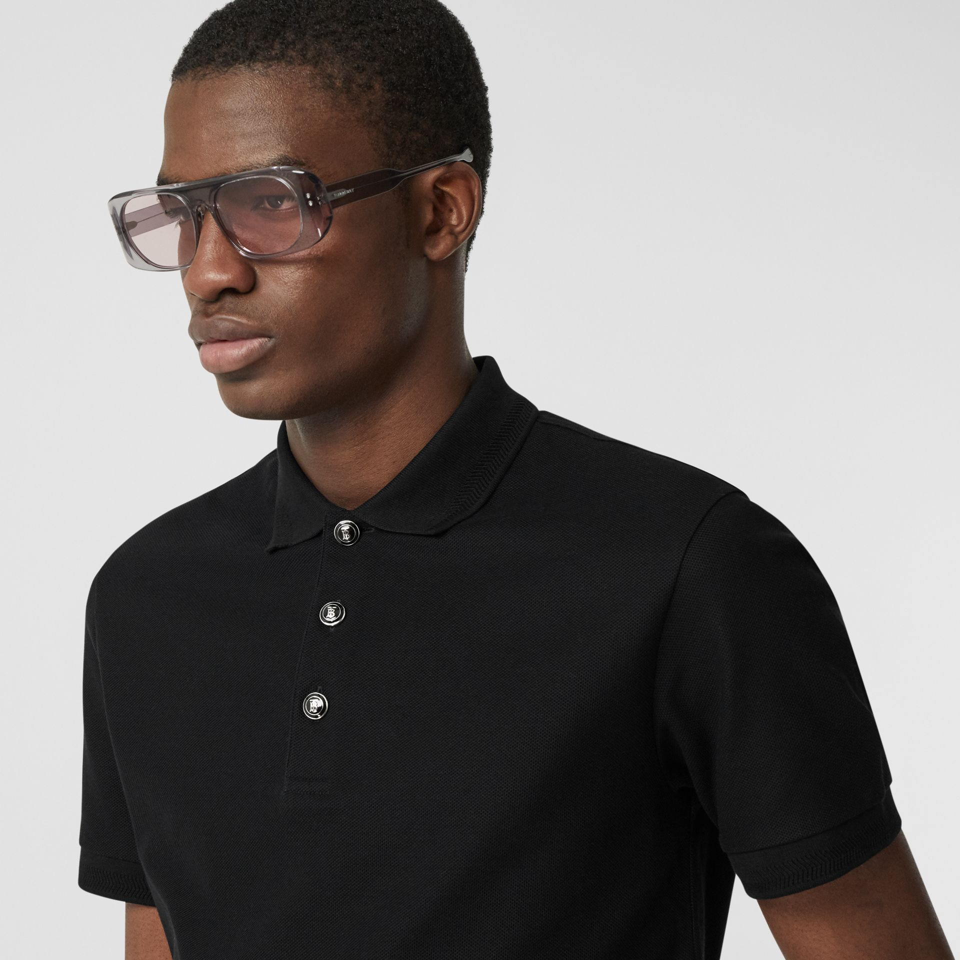 Cotton Piqué Polo Shirt in Black - Men | Burberry United Kingdom - gallery image 1