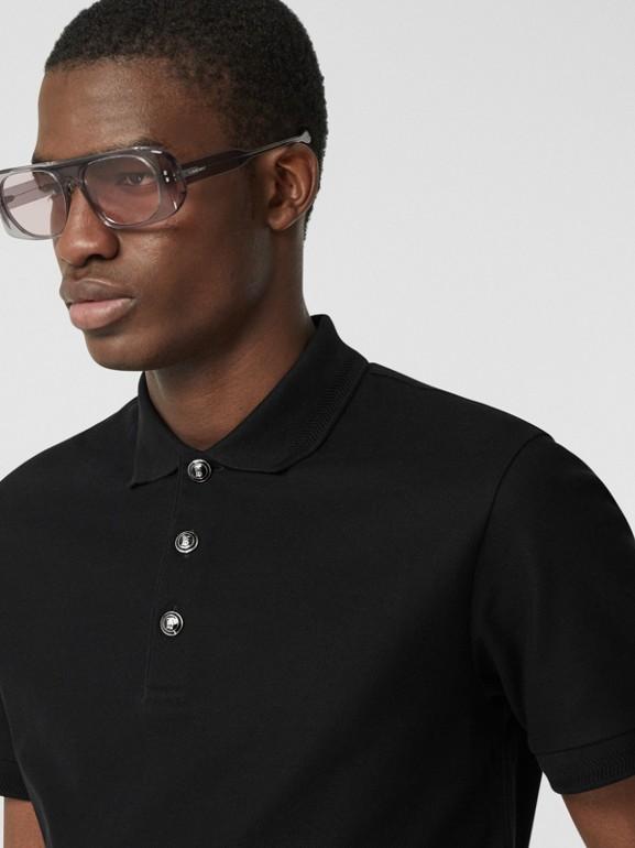 Cotton Piqué Polo Shirt in Black - Men | Burberry - cell image 1