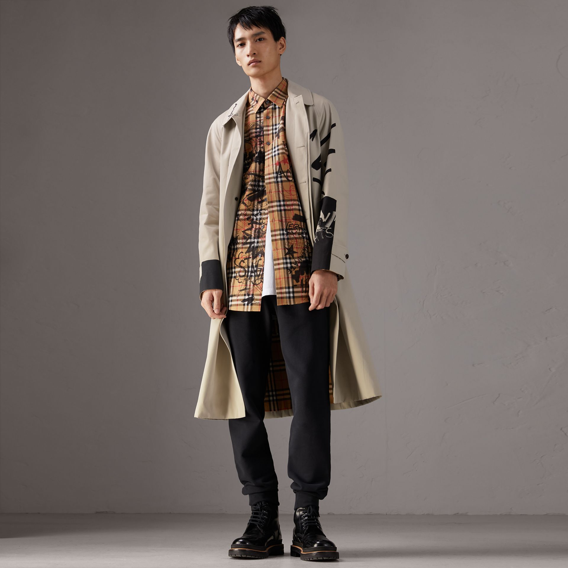 Burberry x Kris Wu Gabardine Car Coat in Stone - Men | Burberry - gallery image 0