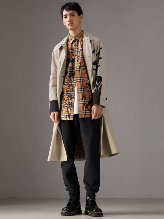 Burberry x Kris Wu Gabardine Car Coat in Stone