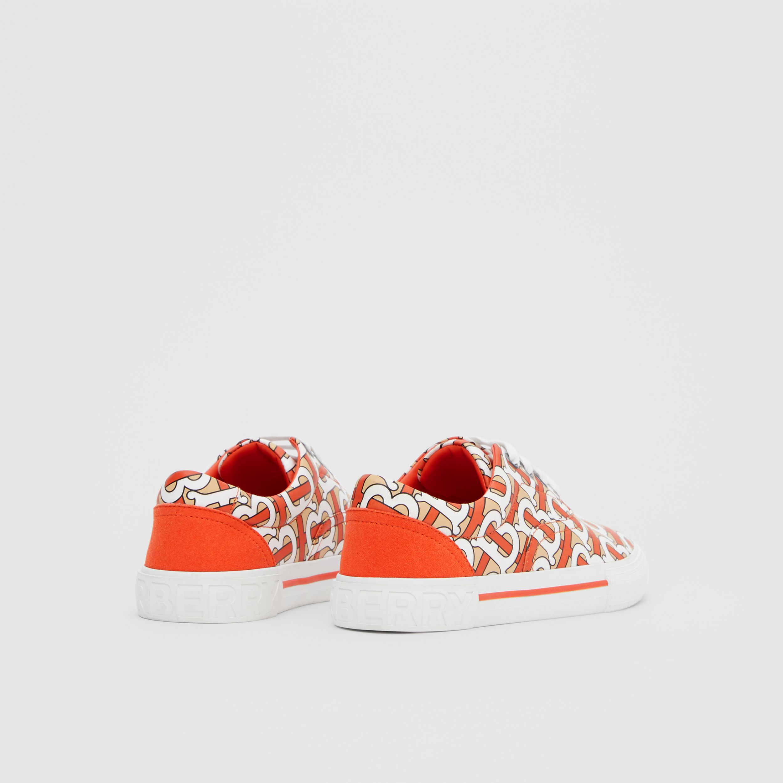 Monogram Print Cotton Gabardine Sneakers in Vermilion Red - Children | Burberry - 3