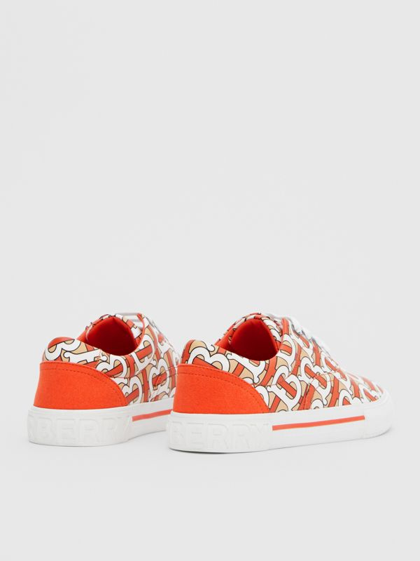 Monogram Print Cotton Gabardine Sneakers in Vermilion Red - Children | Burberry - cell image 2