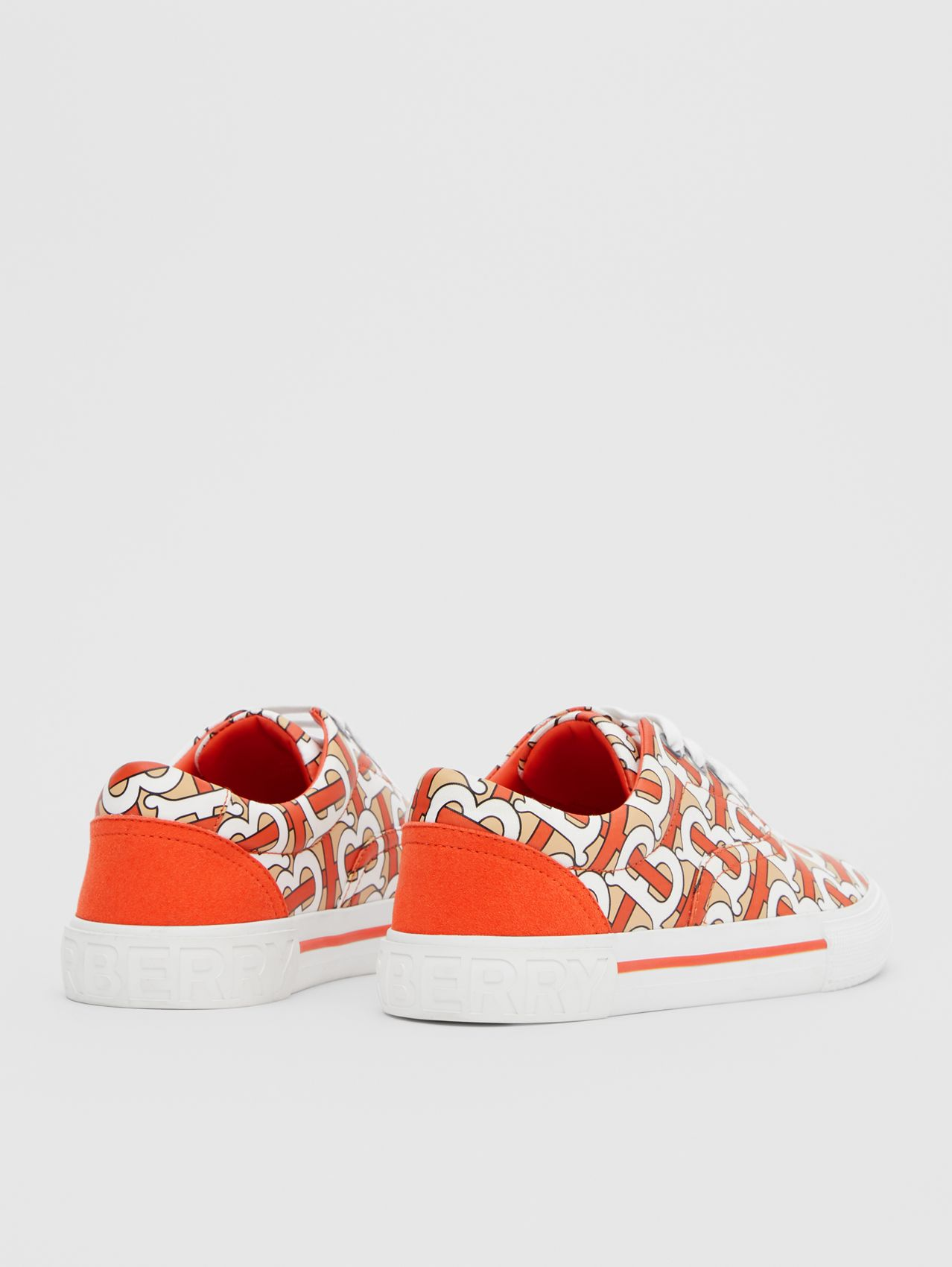 Monogram Print Cotton Gabardine Sneakers in Vermilion Red