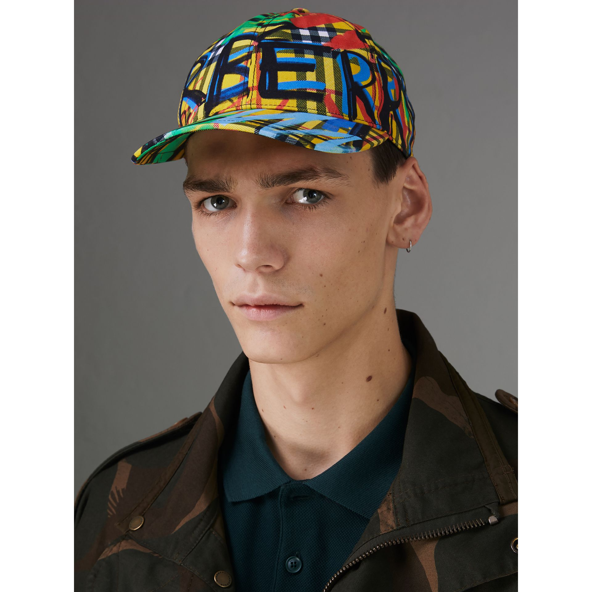 Graffitied Scribble Check Baseball Cap in Amber Yellow | Burberry United Kingdom - gallery image 2