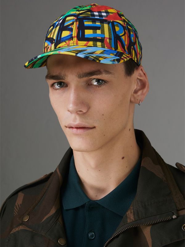 Graffitied Scribble Check Baseball Cap in Amber Yellow | Burberry - cell image 2