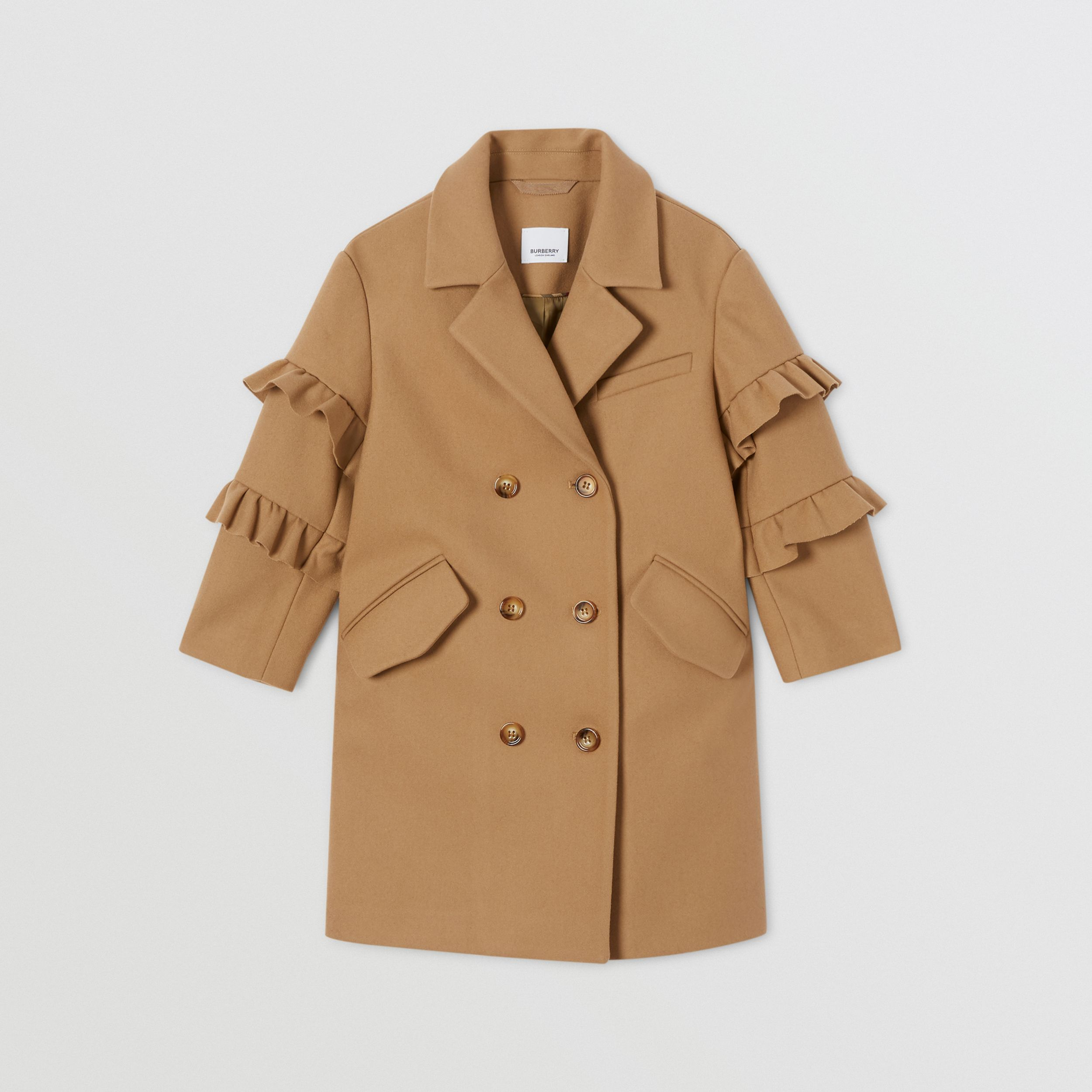 Ruffled Sleeve Wool Tailored Coat in Camel | Burberry - 1