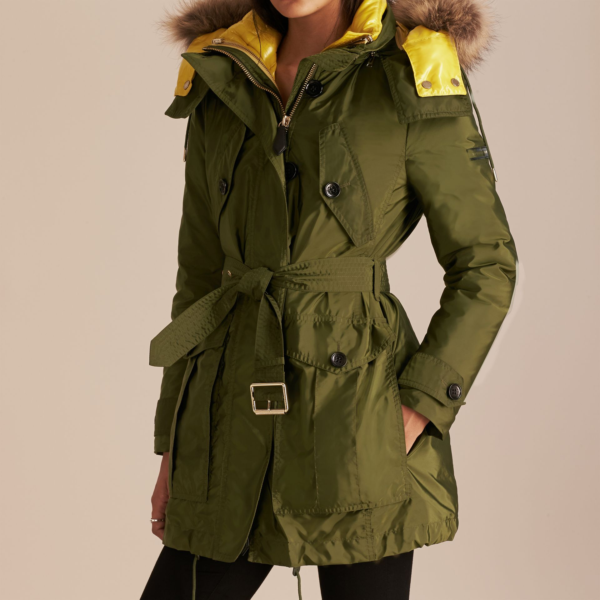 Fur-trimmed Parka with Detachable Down-filled Jacket Bright Moss Green - gallery image 5