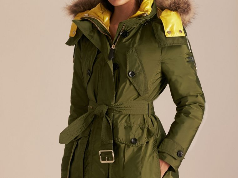 Fur-trimmed Parka with Detachable Down-filled Jacket in Bright Moss Green - cell image 4