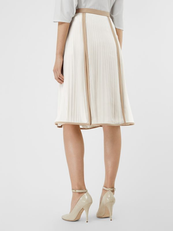 Chiffon Panel Silk Pleated Skirt in Magnolia - Women | Burberry - cell image 2