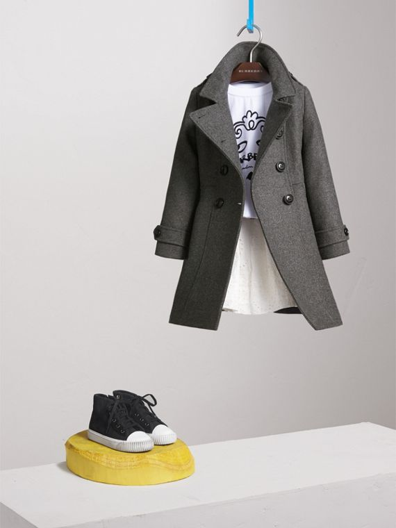 Technical Wool Cashmere Double-Breasted Coat in Mid Grey Melange - Girl | Burberry Singapore