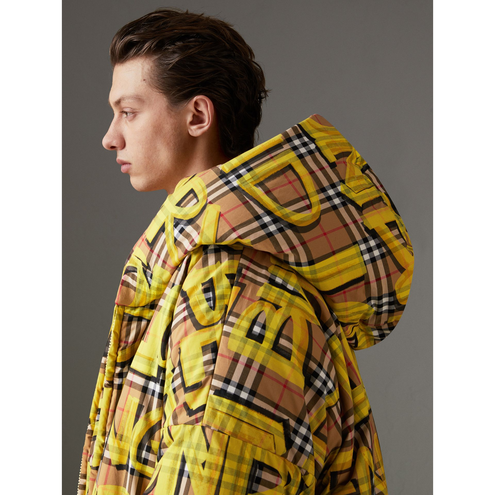 Graffiti Vintage Check Down-filled Puffer Coat in Bright Yellow | Burberry Australia - gallery image 1