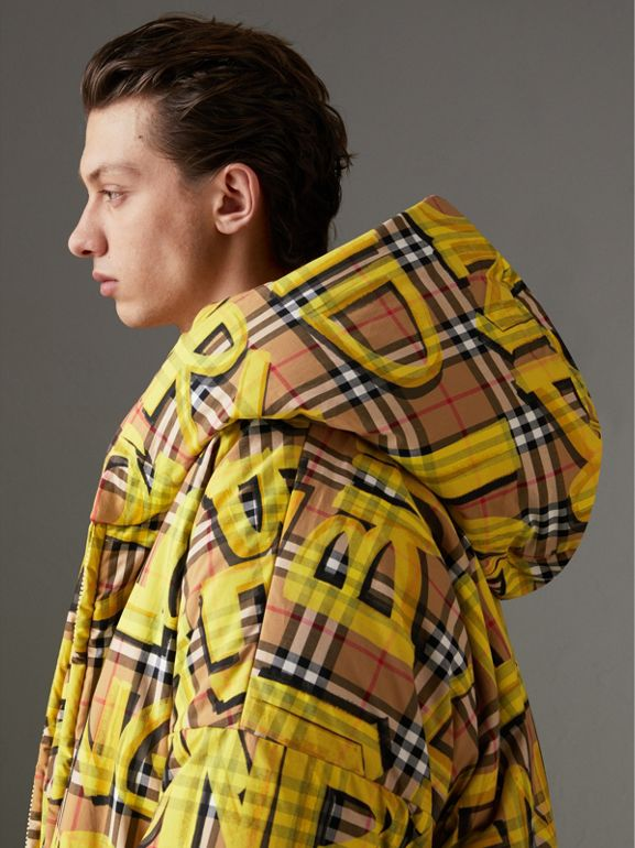 Graffiti Vintage Check Down-filled Puffer Coat in Bright Yellow | Burberry Australia - cell image 1