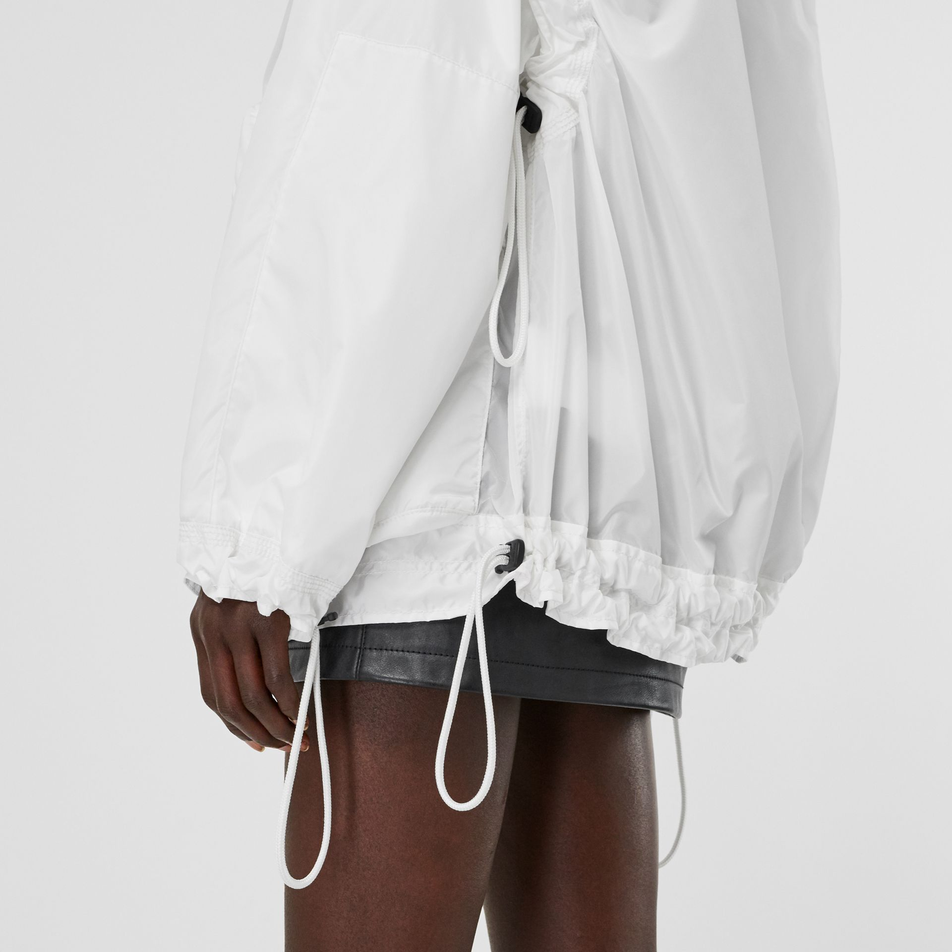 Drawcord Detail Logo Print Lightweight Jacket in White - Women | Burberry Australia - gallery image 4