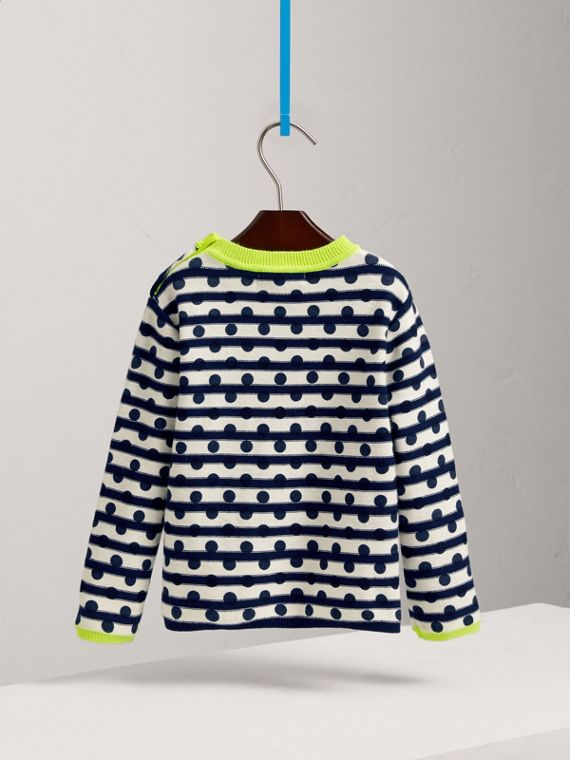 Dot Print Striped Cotton Cashmere Sweater in Navy - Boy | Burberry - cell image 3