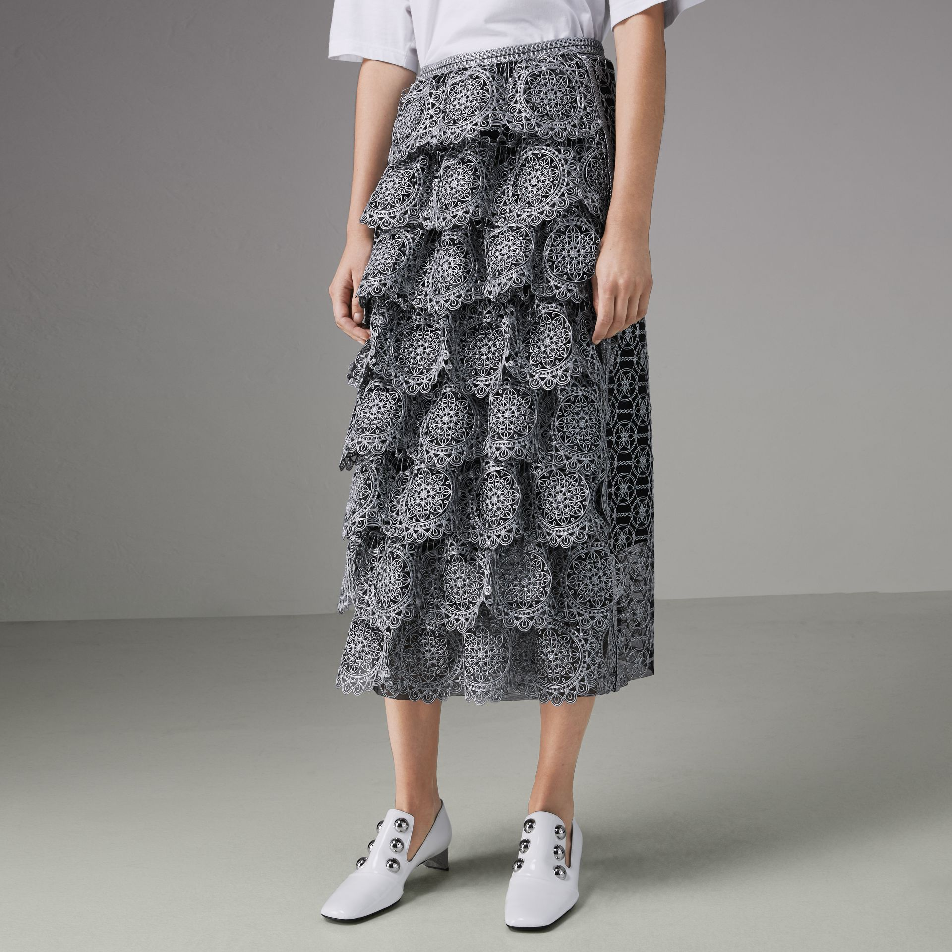 Tiered Silicone Lace Skirt in Silver - Women | Burberry - gallery image 4
