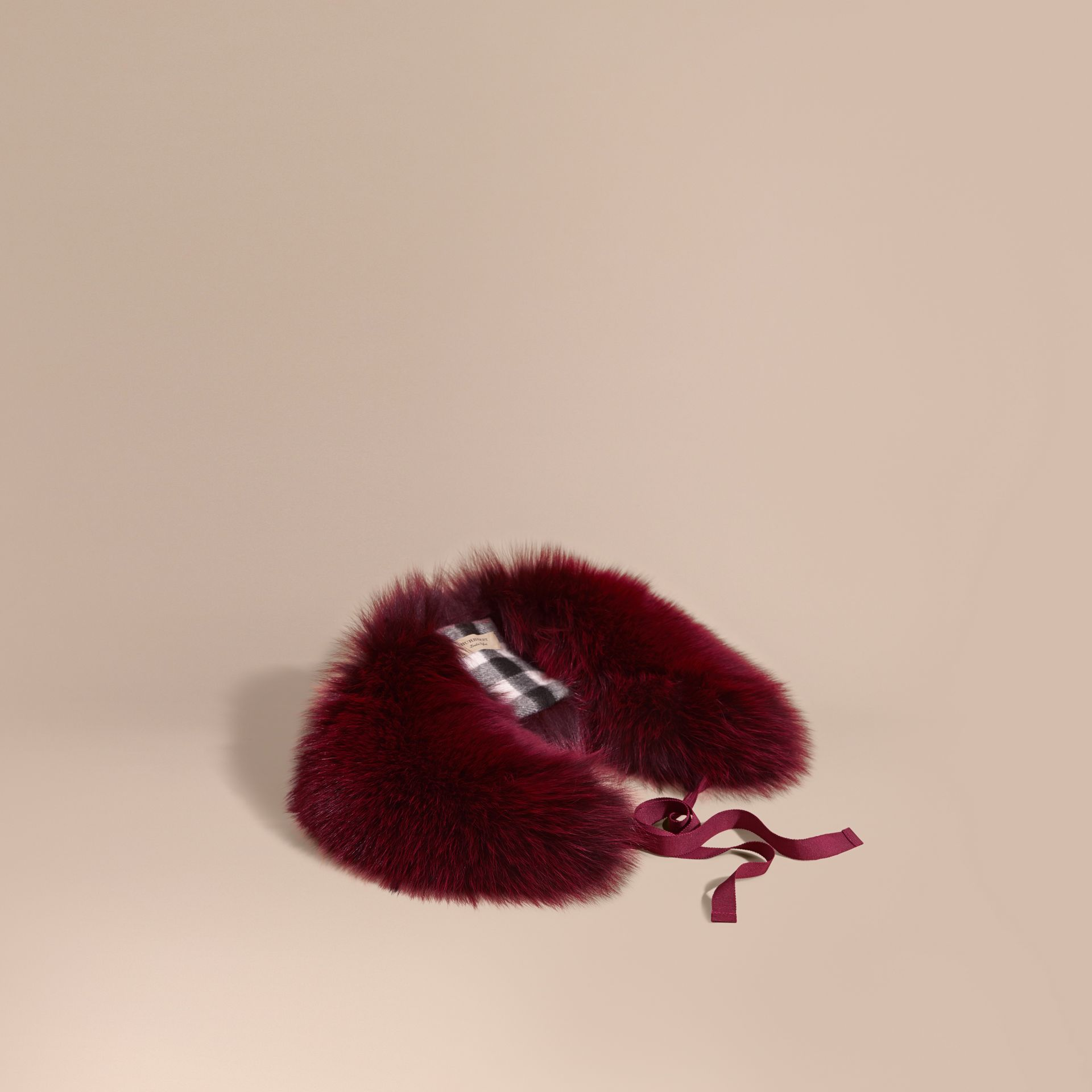 Plum Fox Fur Collar with Check Cashmere Lining Plum - gallery image 1
