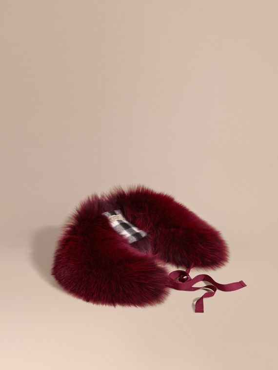 Fox Fur Collar with Check Cashmere Lining Plum