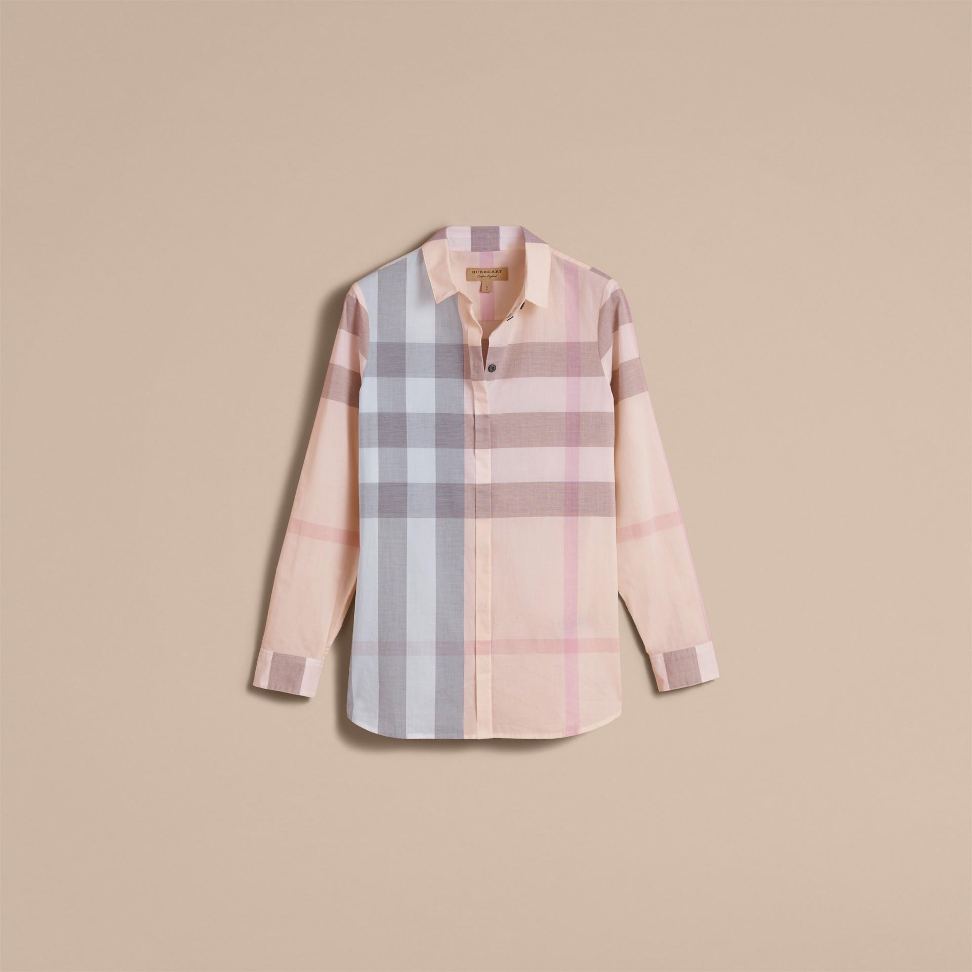Check Cotton Shirt Apricot - gallery image 4