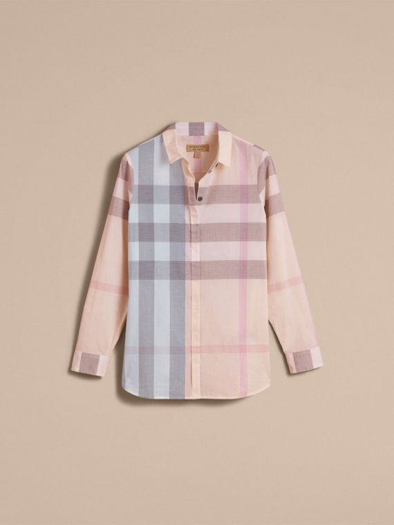 Check Cotton Shirt Apricot - cell image 3