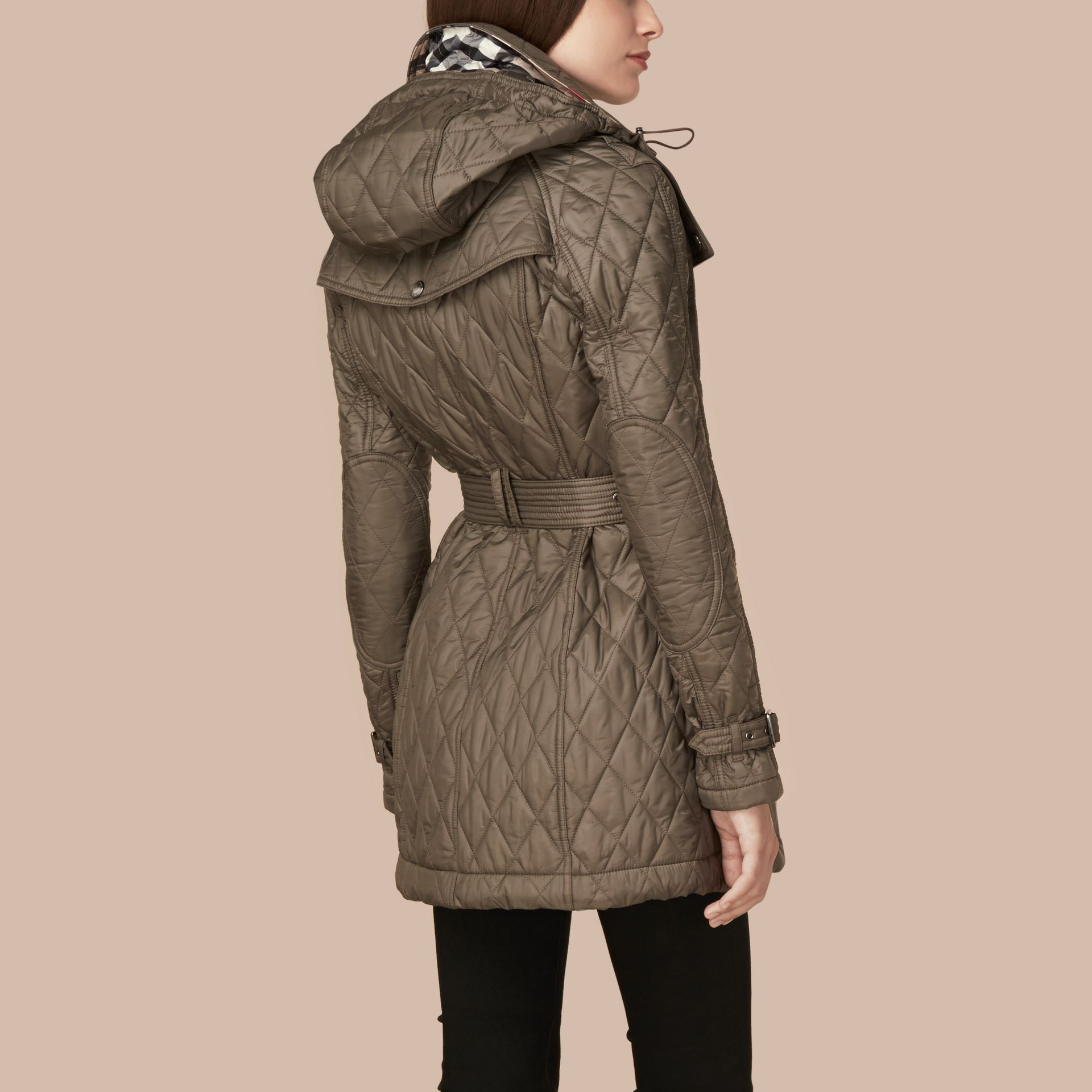 Diamond Quilted Coat Mink Grey - gallery image 3