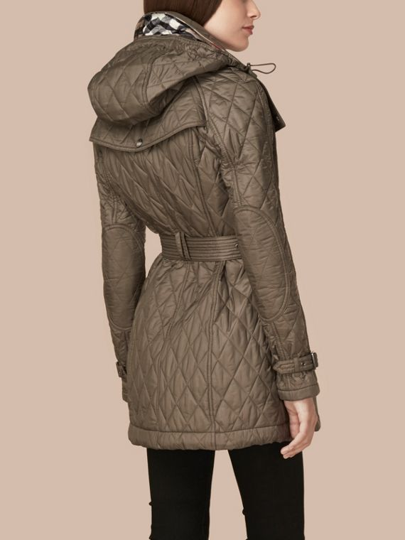 Diamond Quilted Coat Mink Grey - cell image 2