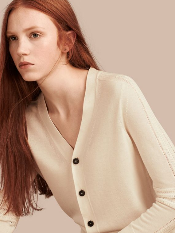 Open Stitch Detail Silk Wool Cardigan Natural White