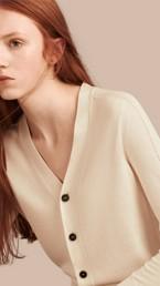 Open Stitch Detail Silk Wool Cardigan