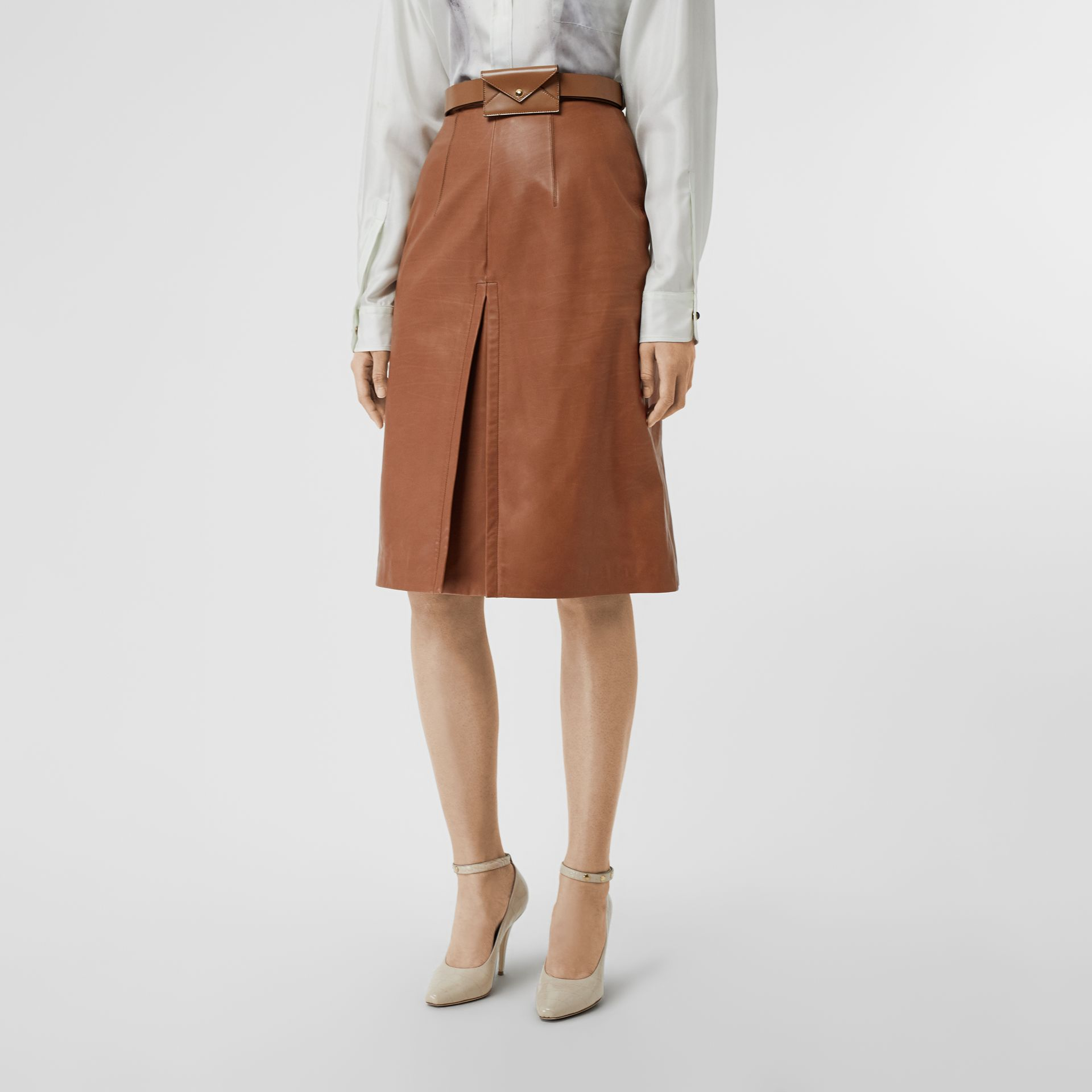 Box Pleat Detail Leather A-line Skirt in Flaxseed - Women | Burberry - gallery image 4
