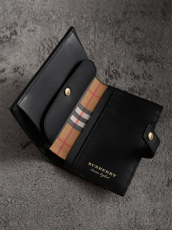 Vintage Check and Leather Folding Wallet in Black - Women | Burberry Australia - cell image 3