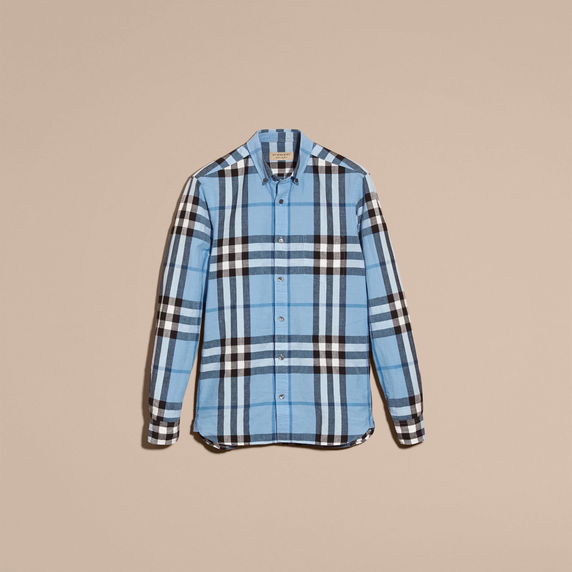 Button-down Collar Check Linen Cotton Shirt in Pale Blue - gallery image 4