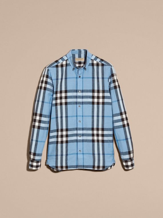 Button-down Collar Check Linen Cotton Shirt in Pale Blue - cell image 3