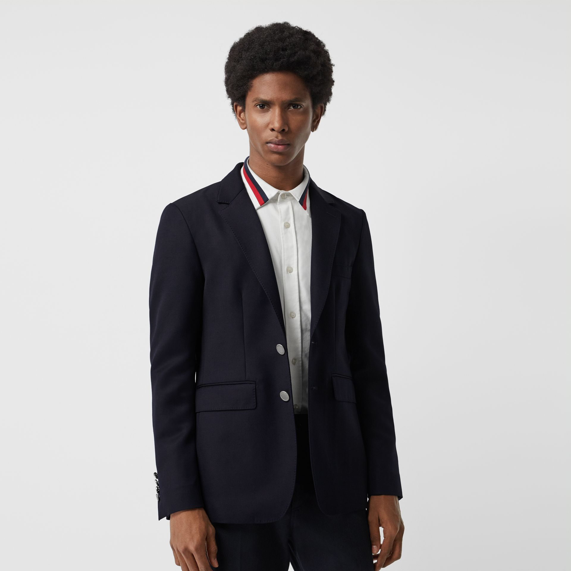 Slim Fit Metal Button Wool Gabardine Blazer in Navy - Men | Burberry Singapore - gallery image 5