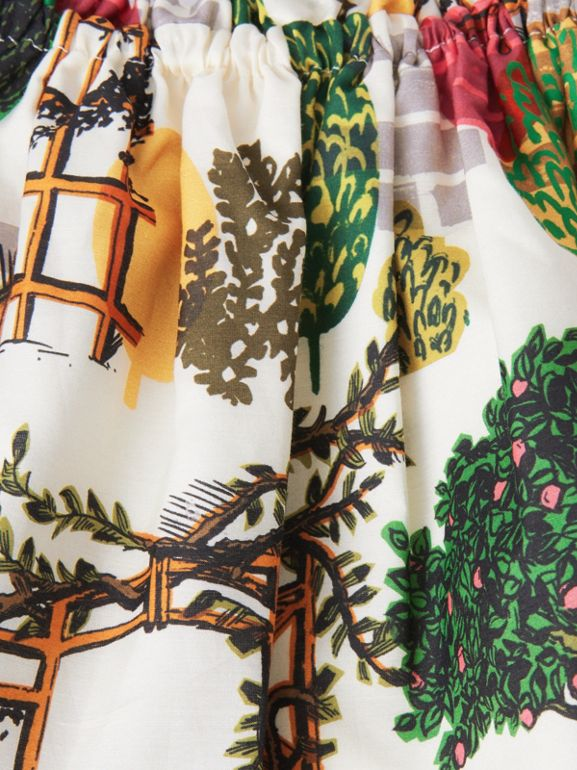 Tree Print Cotton Silk Skirt in Natural White | Burberry - cell image 1