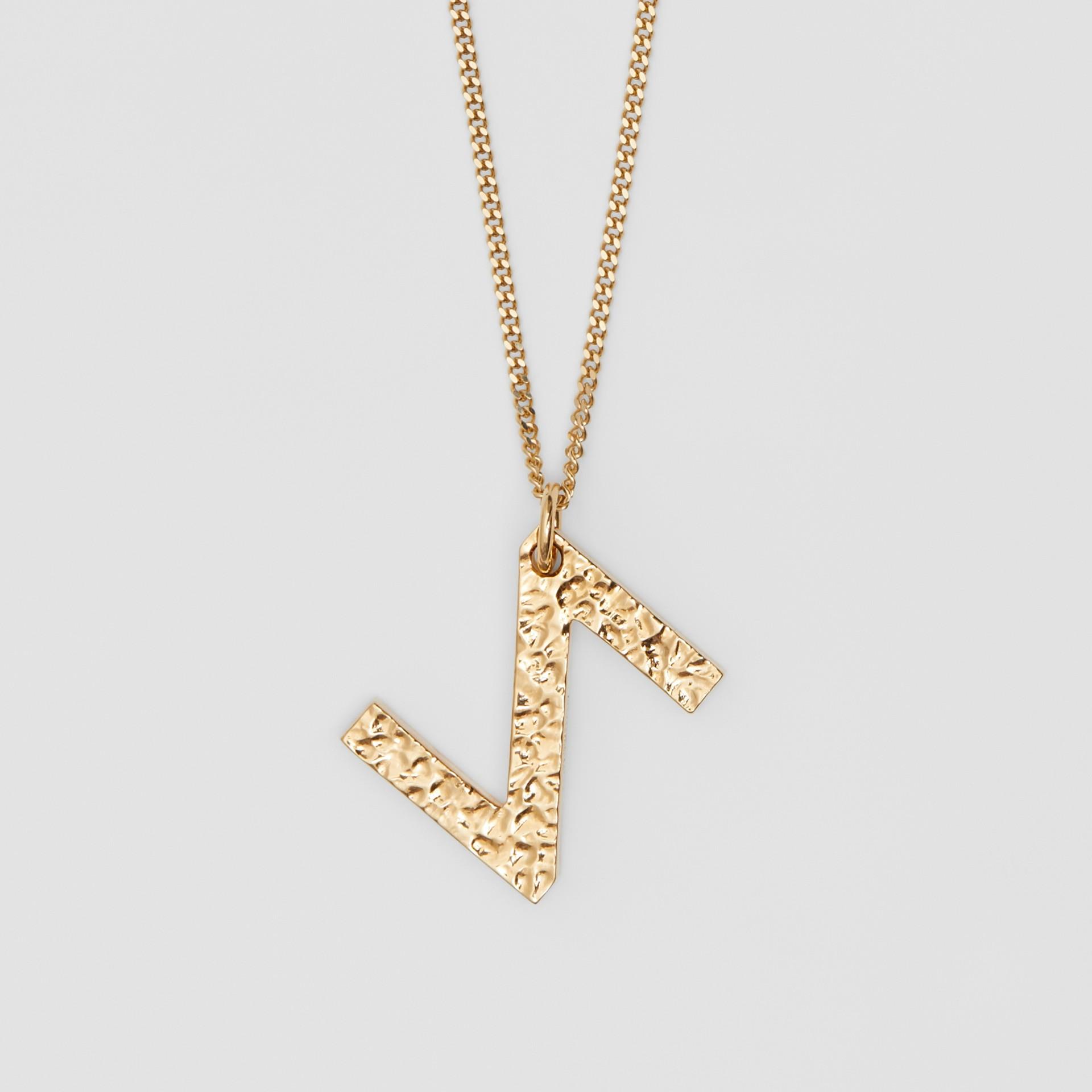 Collana con ciondolo a forma di Z in metallo placcato oro (Chiaro) - Donna   Burberry - immagine della galleria 2