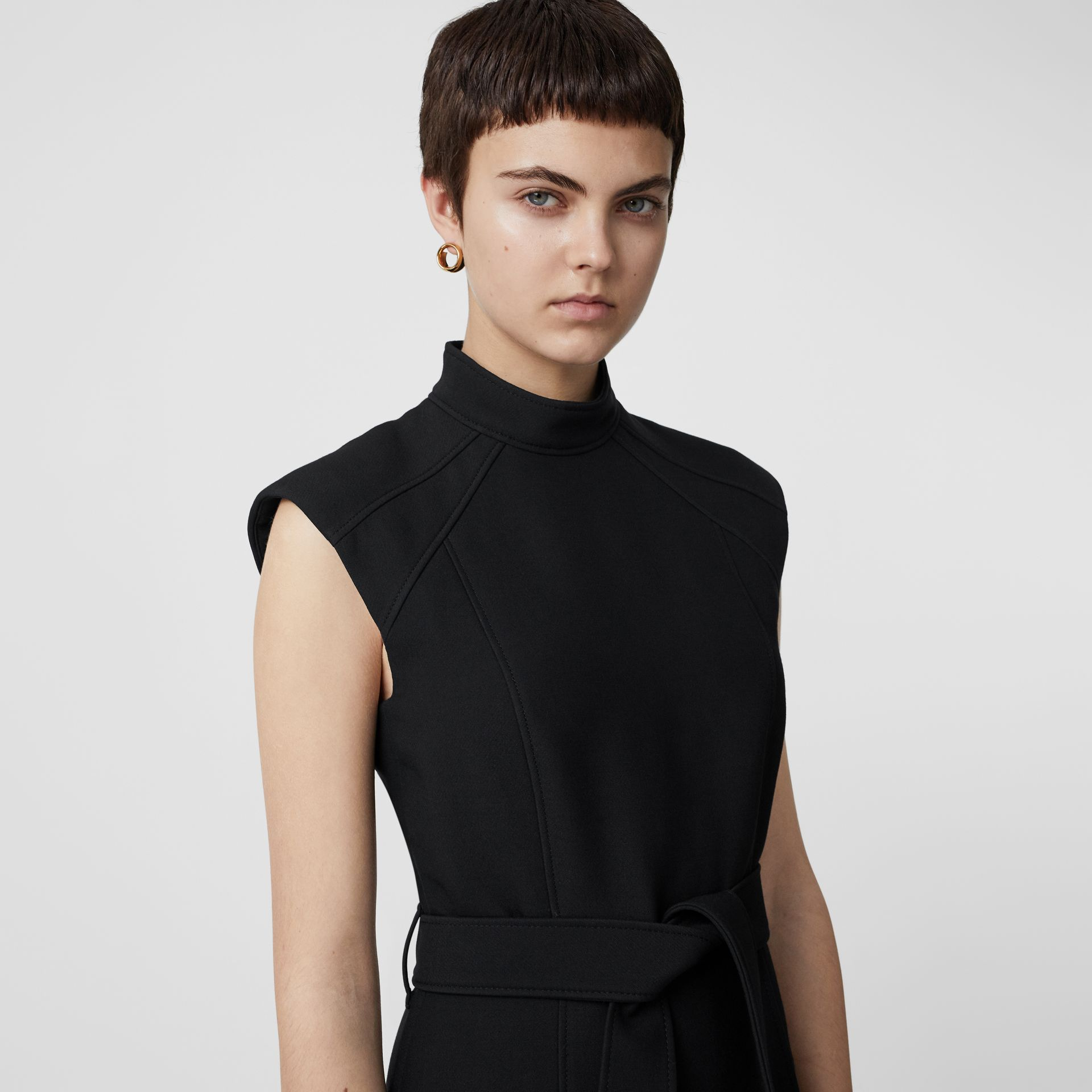 Wool Silk Belted Dress in Black - Women | Burberry United Kingdom - gallery image 1