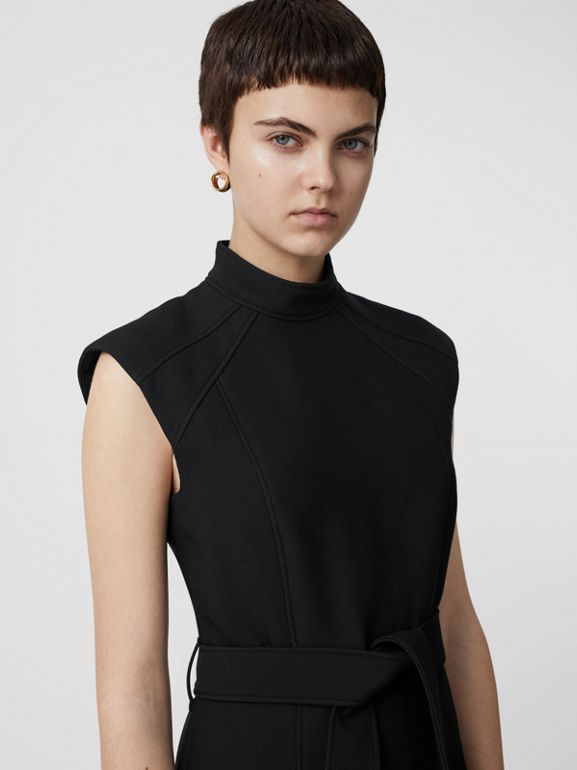 Wool Silk Belted Shift Dress in Black - Women | Burberry - cell image 1