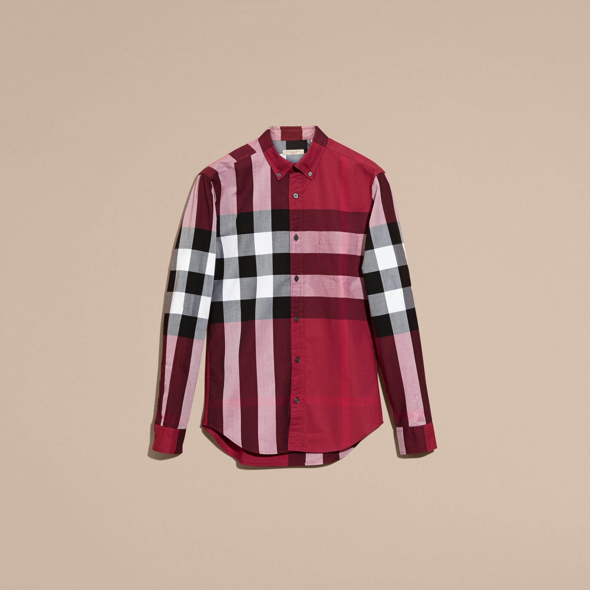 Berry red Check Cotton Shirt Berry Red - gallery image 4