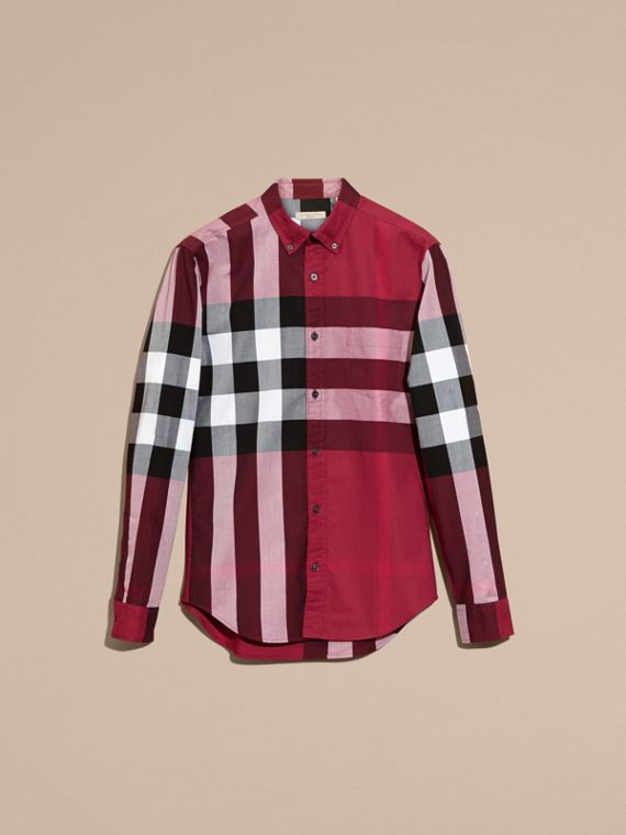 Berry red Check Cotton Shirt Berry Red - cell image 3
