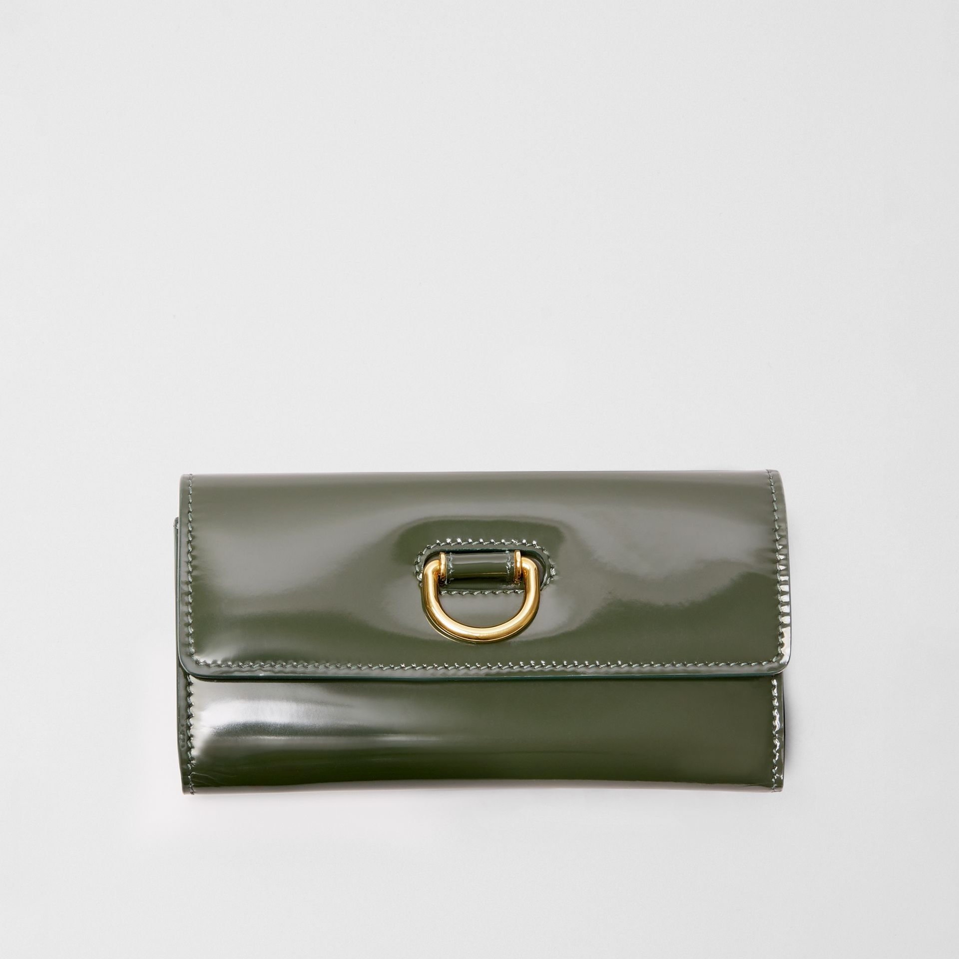 D-ring Patent Leather Continental Wallet in Dark Forest Green - Women | Burberry United States - gallery image 5