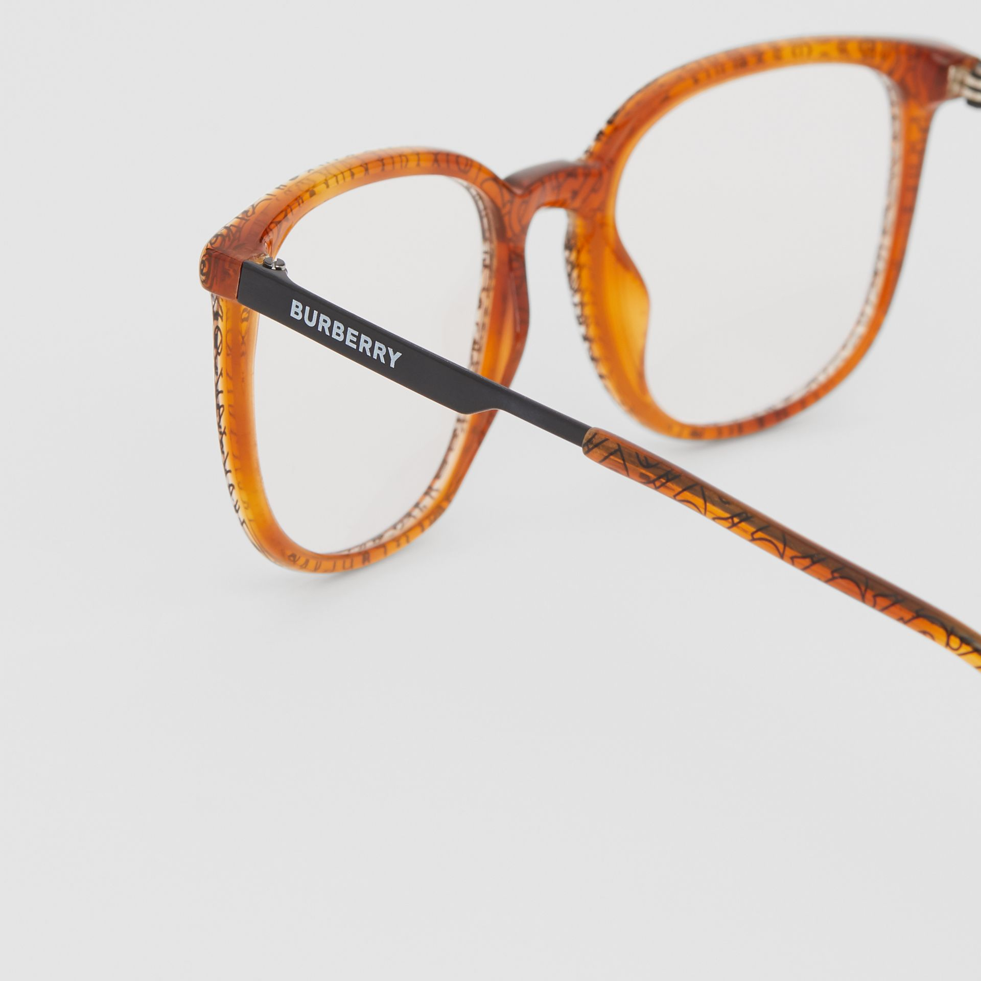 Monogram Print Square Optical Frames in Tortoiseshell Amber | Burberry - gallery image 1