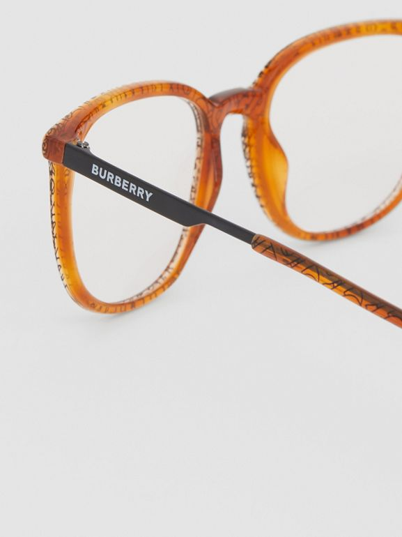 Monogram Print Square Optical Frames in Tortoiseshell Amber | Burberry - cell image 1