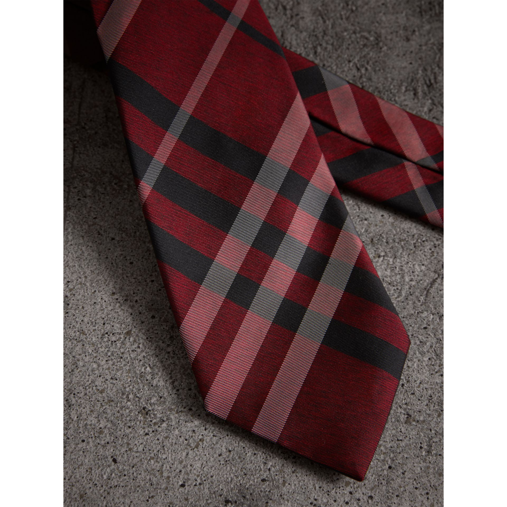 Modern Cut Check Silk Tie in Crimson Red - Men | Burberry United Kingdom - gallery image 2