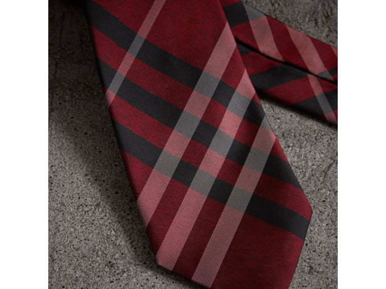 Modern Cut Check Silk Tie in Crimson Red - Men | Burberry United Kingdom - cell image 1