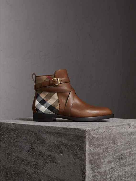 Strap Detail House Check and Leather Ankle Boots in Bright Camel - Women | Burberry Canada