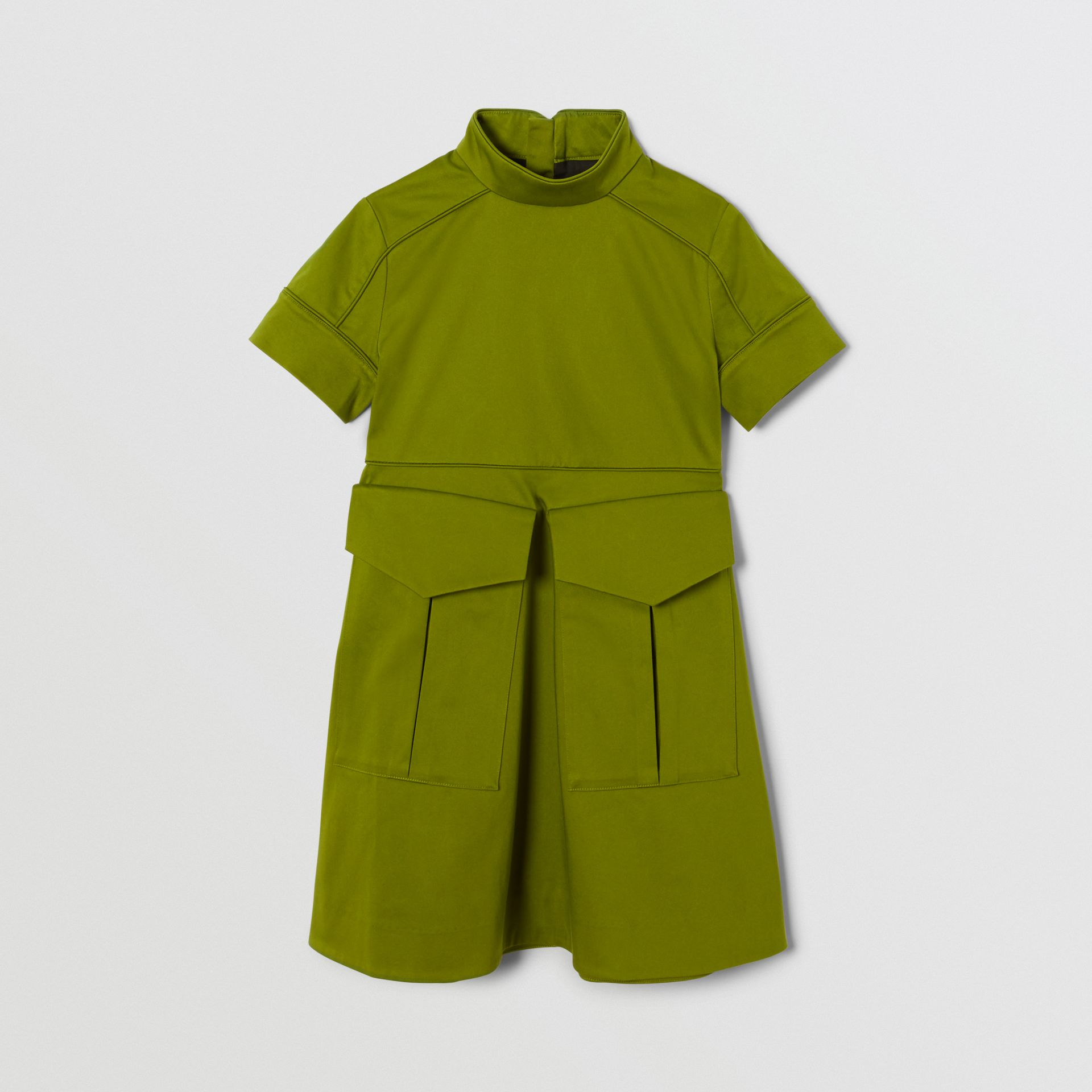 Short-sleeve Cotton Sateen Funnel Neck Dress in Bright Green - Girl | Burberry - gallery image 0