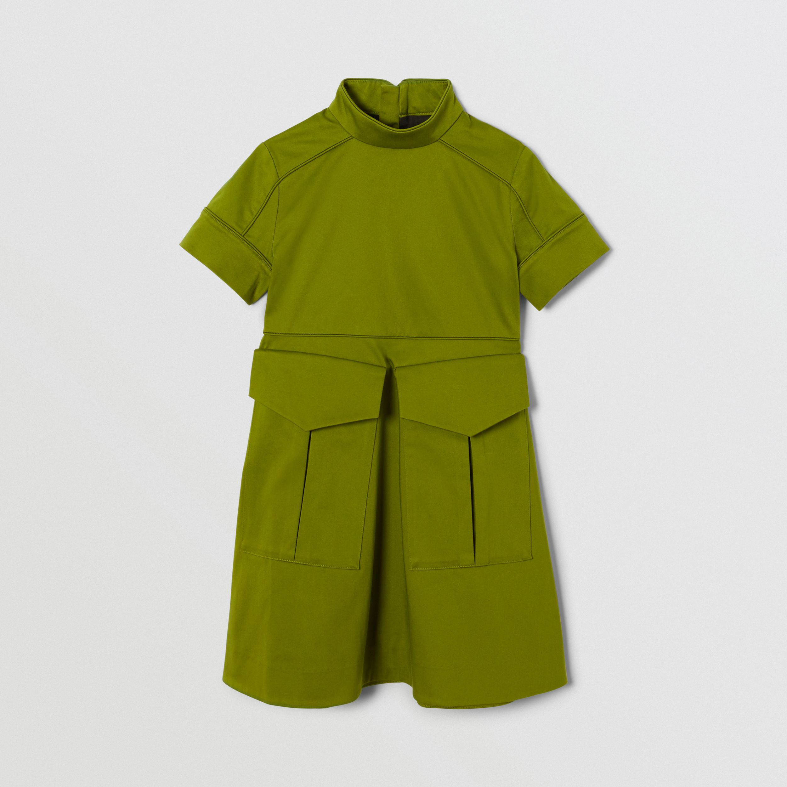 Short-sleeve Cotton Sateen Funnel Neck Dress in Bright Green | Burberry - 1